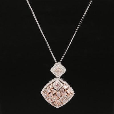 18K 3.10 CTW Diamond Pendant on Italian Chain Necklace with GIA Report