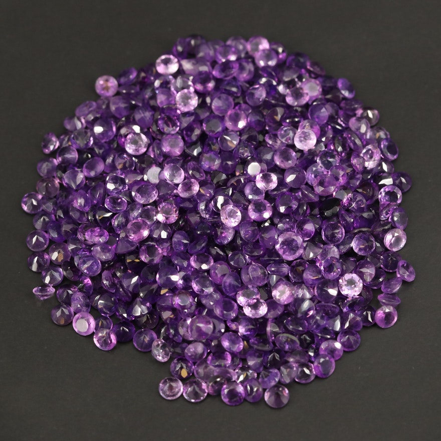 Loose 123.54 CTW Round Faceted Amethysts