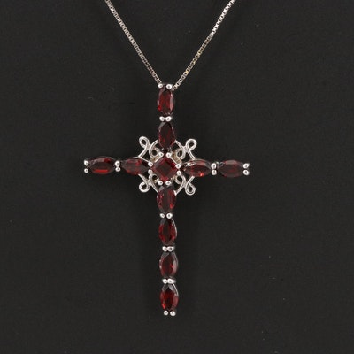 Sterling Silver Garnet Cross Pendant Necklace