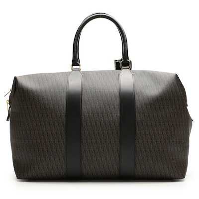 Saint Laurent Duffle Bag in Coated Canvas and Black Leather