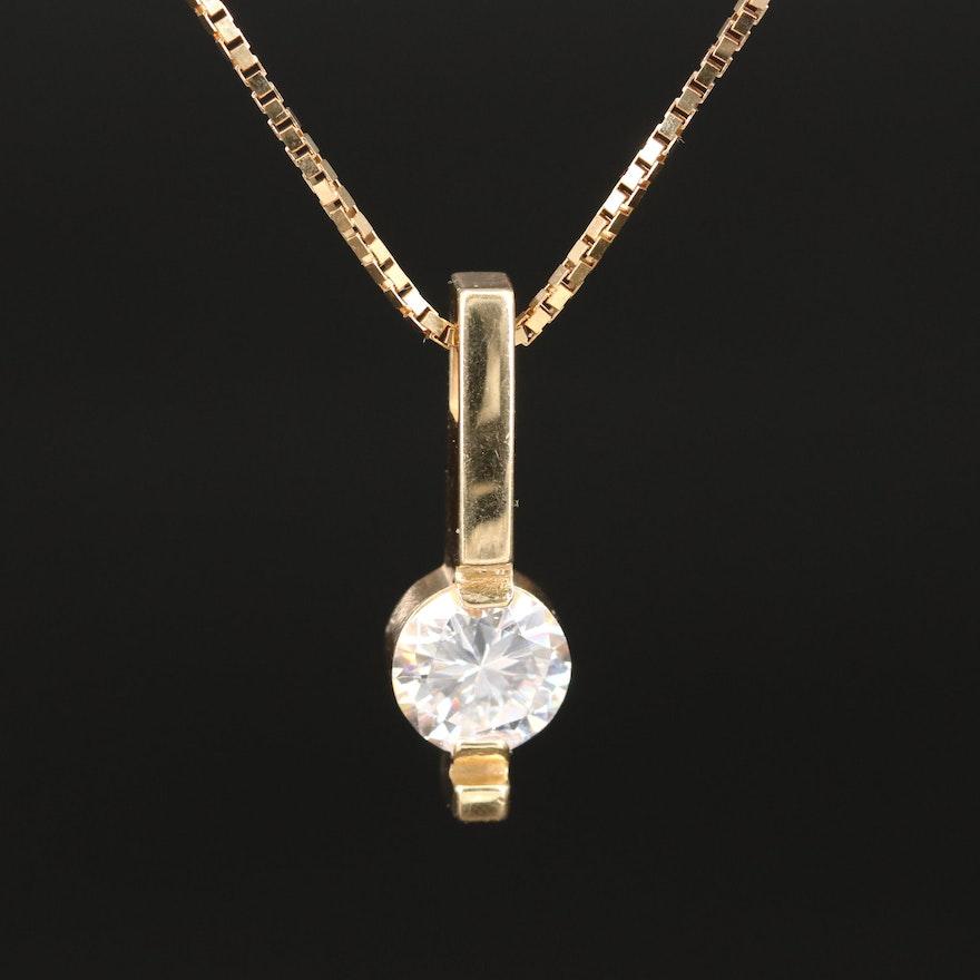14K Cubic Zirconia Pendant Necklace