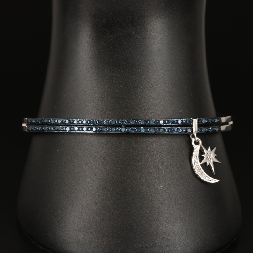 Eva LaRue Diamond Bangle with Star and Crescent Moon Charms