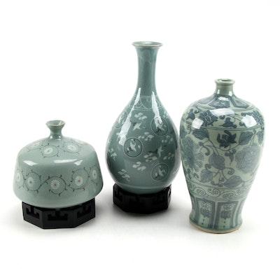 Korean Crane in Clouds and Other Celadon Glazed Vases