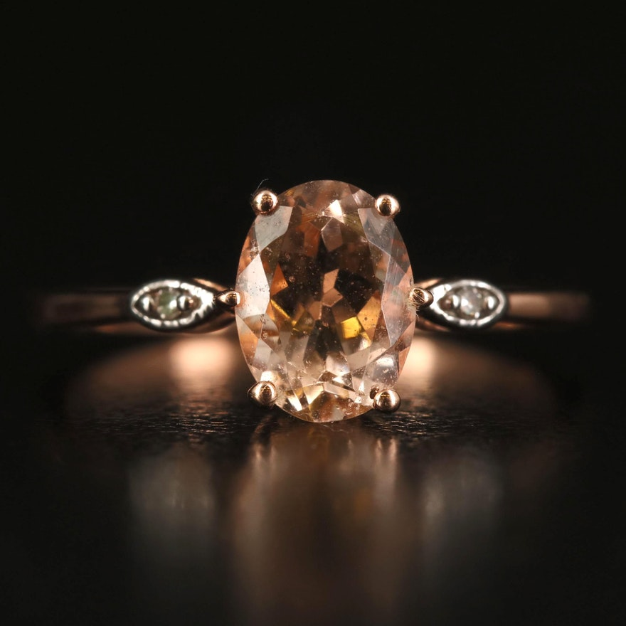 9K Rose Gold Morganite and Diamond Ring