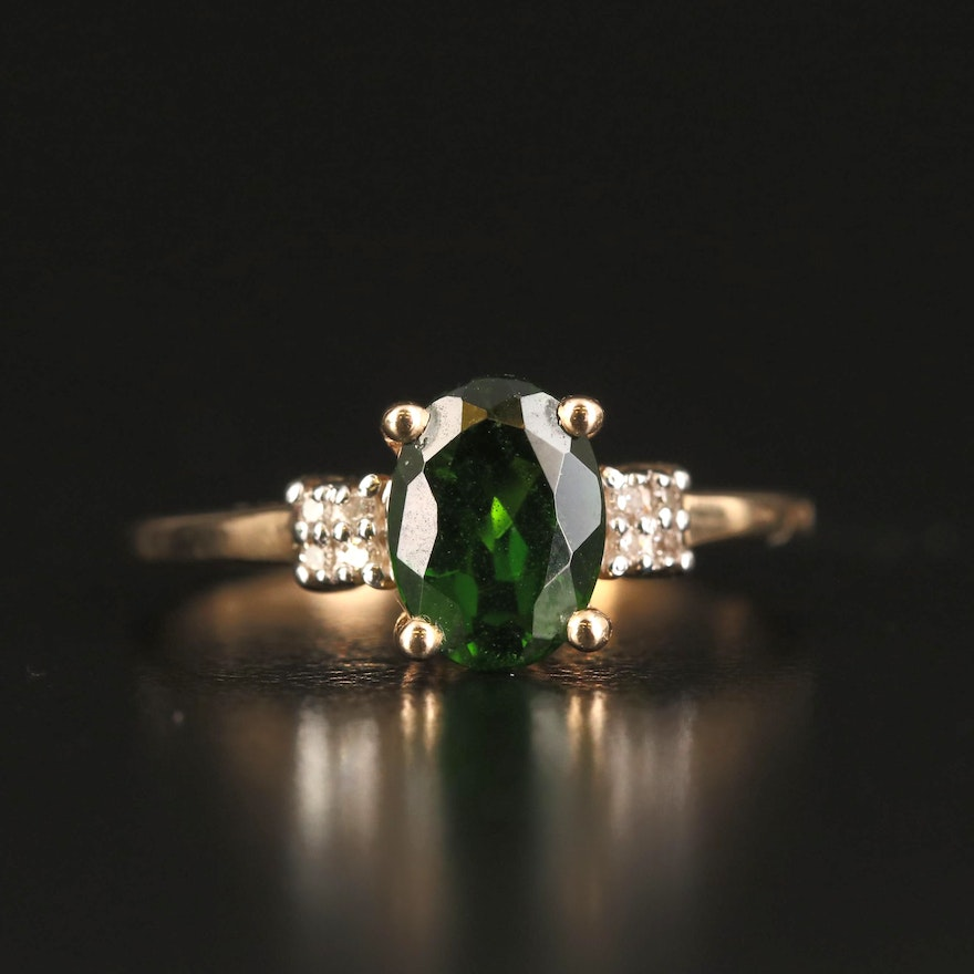 9K Diopside and Diamond Ring
