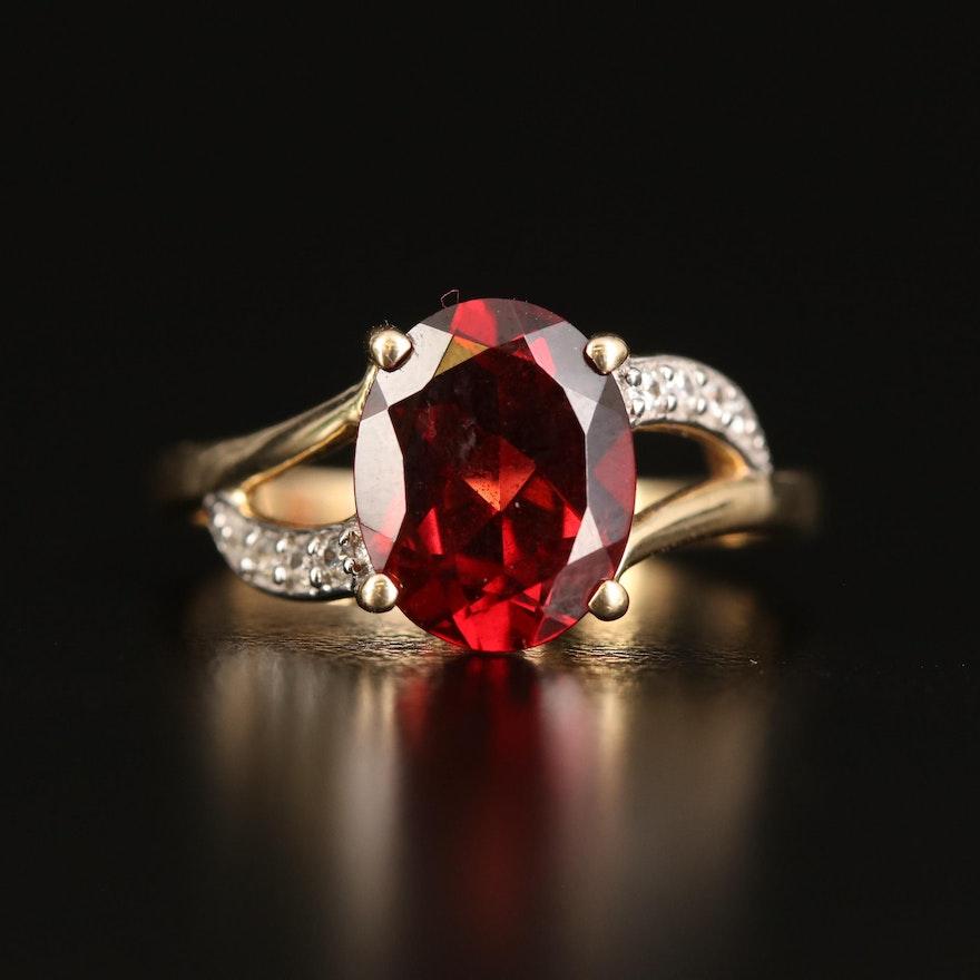 9K Garnet and White Zircon Ring