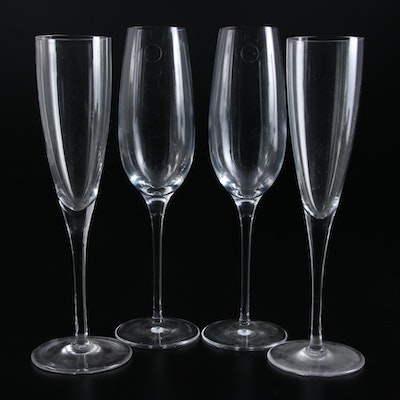 Tiffany & Co. Glass Champagne Flutes, Two Pairs