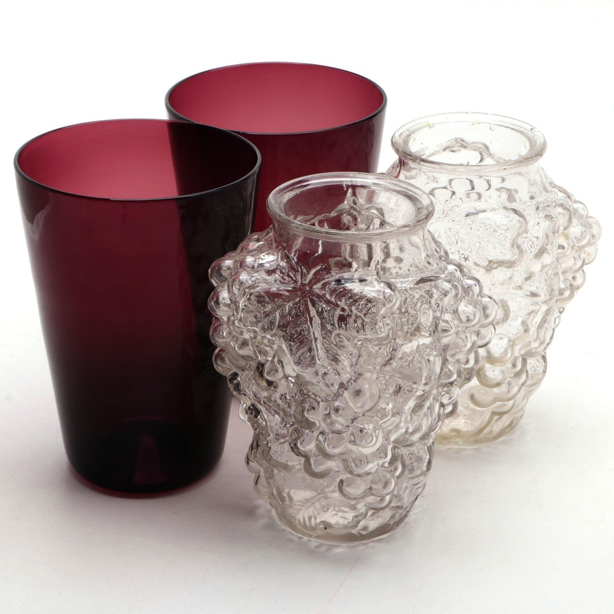 Grape Motif Goofus Glass, and Other Glass Vases