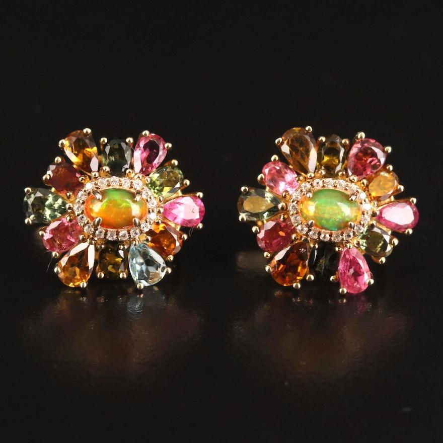 Sterling Opal, Tourmaline and White Zircon Earrings