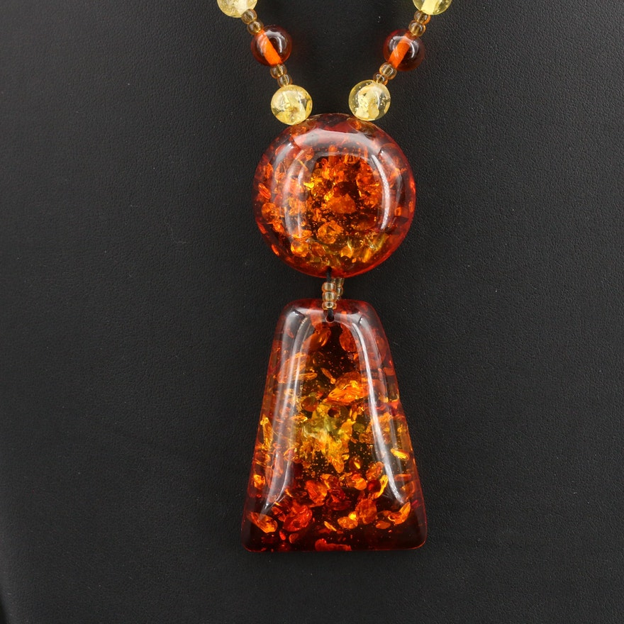 Amber and Glass Beaded Pendant Necklace