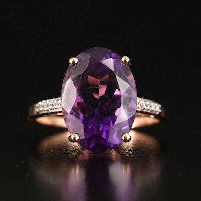 9K Rose Gold Amethyst and White Zircon Ring