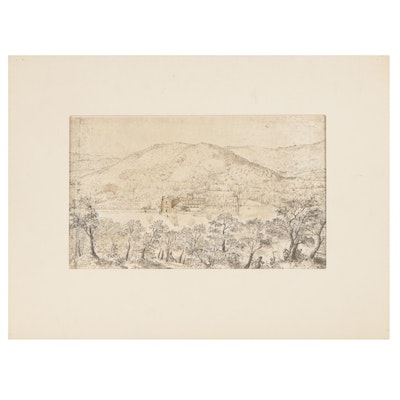 Landscape Offset Lithograph after Peter Brueghel the Elder, Late 20th Century