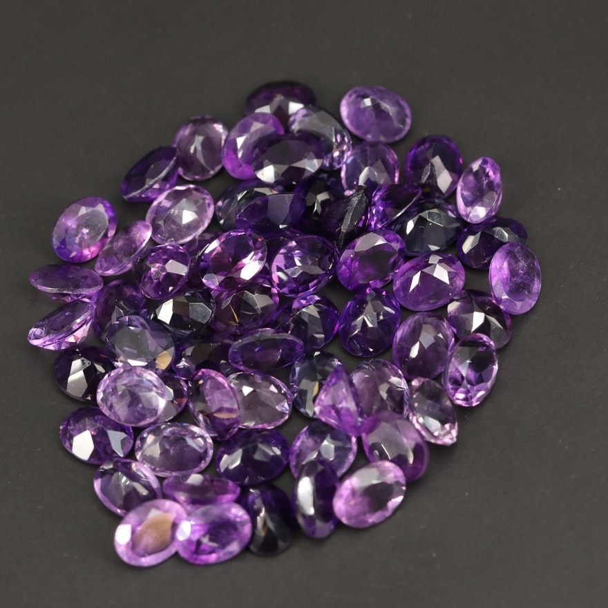 Loose 104.89 CTW Oval Faceted Amethysts