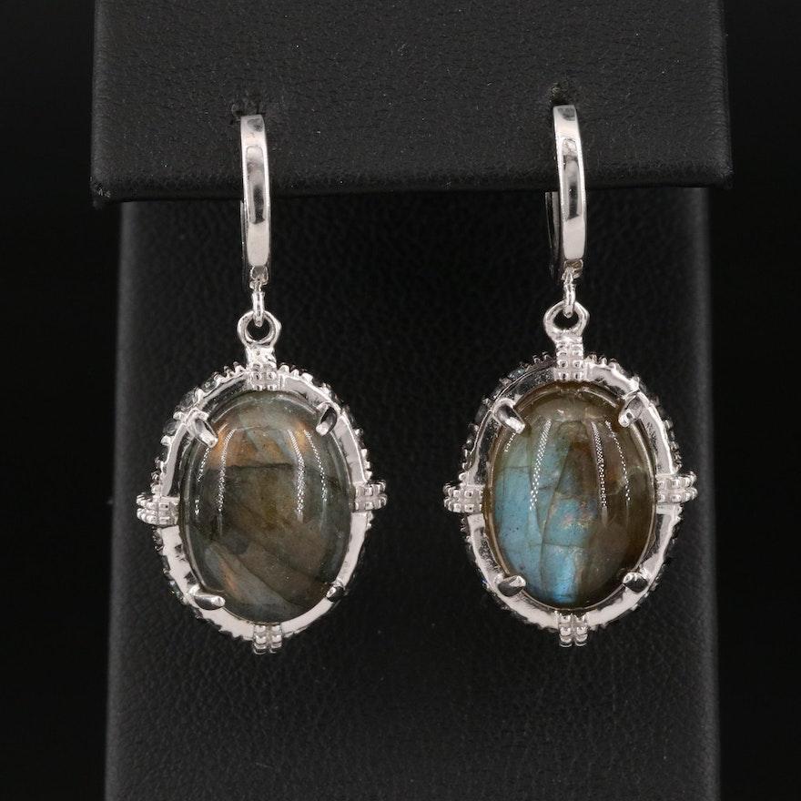 Sterling Silver Labradorite and Topaz Drop Earrings