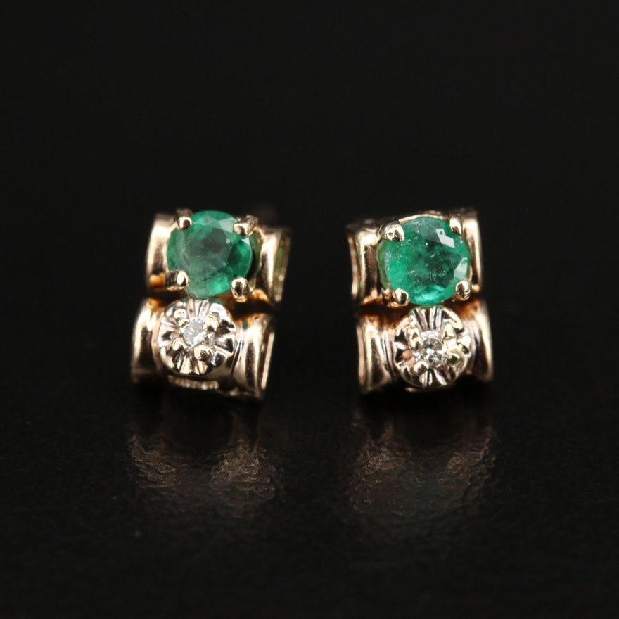 14K and 10K Emerald and Diamond Earrings