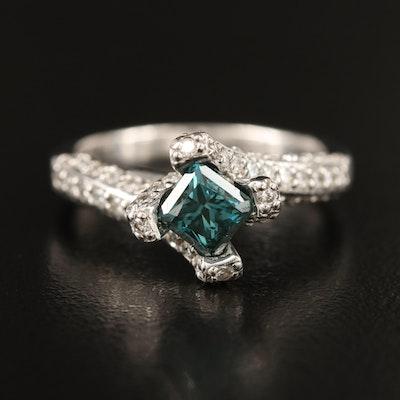 14K 1.74 CTW Blue Diamond and Diamond Ring
