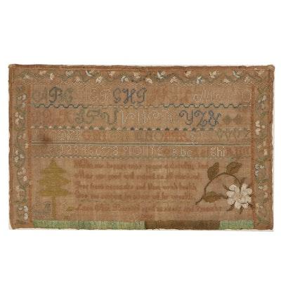 Laura Ann Barnard Silk Cross-Stitch Sampler, 1819
