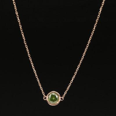18K 0.93 CT Bezel Set Diamond Solitaire Necklace