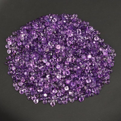 Loose 117.76 CTW Round Faceted Amethysts