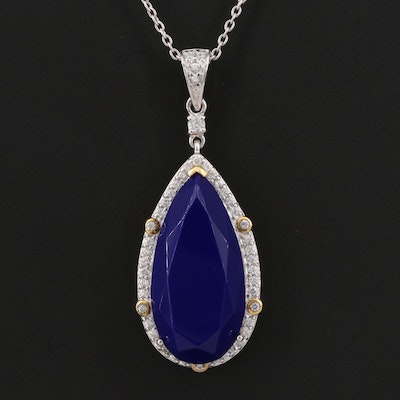 Sterling Silver Imitation Lapis Lazuli and Cubic Zirconia Halo Pendant Necklace