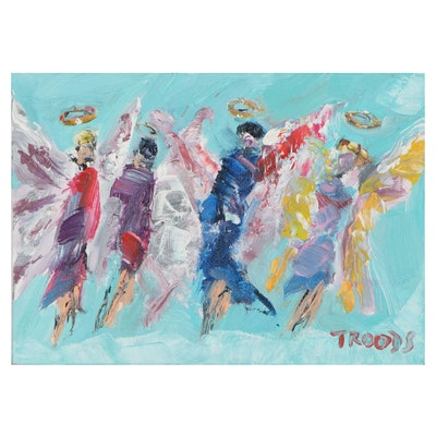 """Patricia Nolan-Brown Oil Painting """"Four Guardian Angels,"""" 2021"""