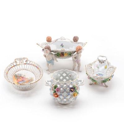 Dresden  Cherub Form Porcelain Dish with Pierced Floral Motif Tableware