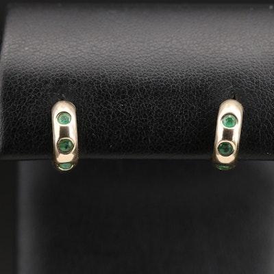 14K Emerald Huggie Earrings