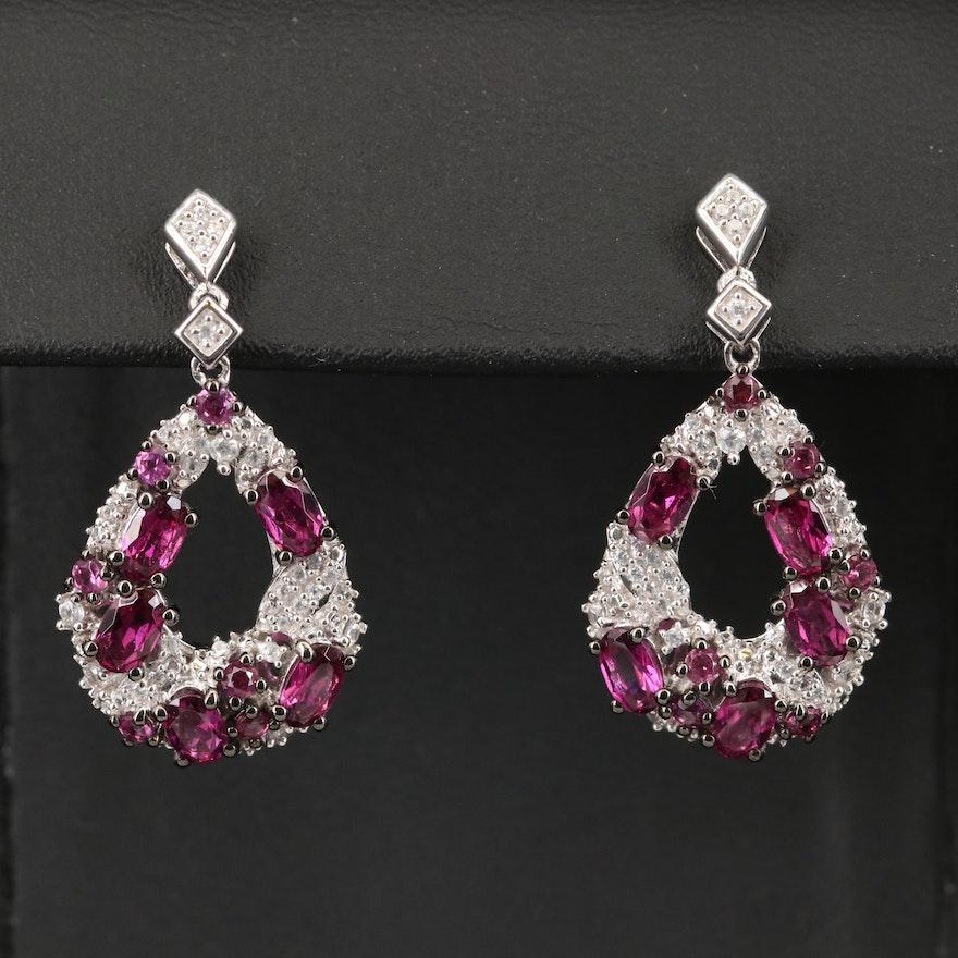 Sterling Rhodolite Garnet and Zircon Cluster Earrings