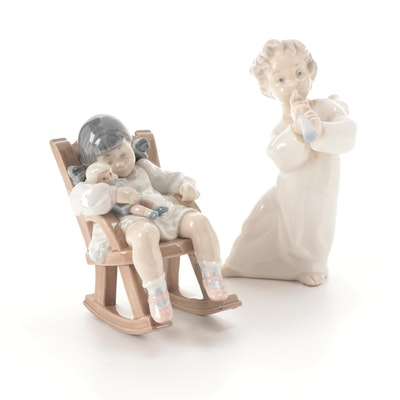 """Lladró """"Angel with Flute"""" and """"Naptime"""" Porcelain Figurines"""