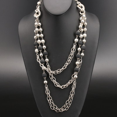 Beaded Lava Multi-Strand Chain Necklace