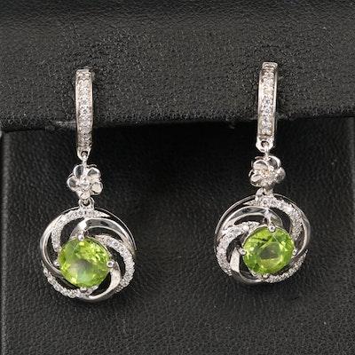 Sterling Peridot and Cubic Zirconia Earrings