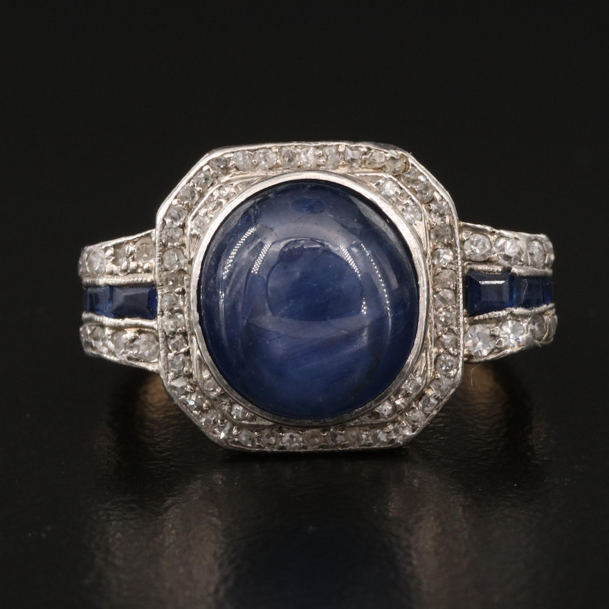 Vintage 14K Star Sapphire and Diamond Ring with Platinum Top