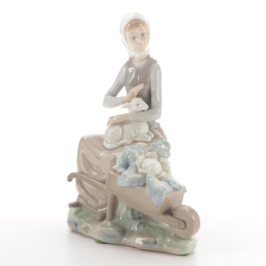 "Lladró ""Girl with Wheelbarrow"" Porcelain Figurine By  Vincente Martinez"