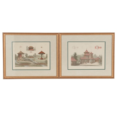 Hand-Colored Lithographs East Asian Architecture