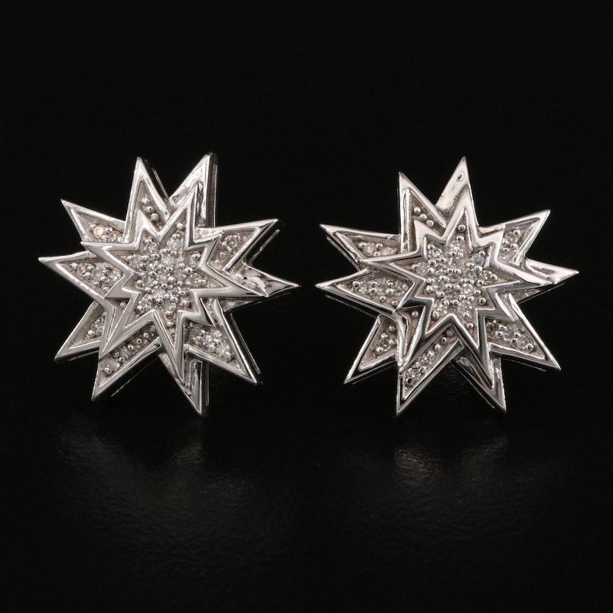 Eva LaRue Sterling Silver Diamond Star Earrings