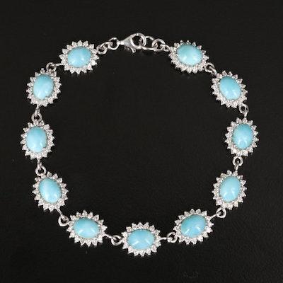 Sterling Larimar and Cubic Zirconia Bracelet