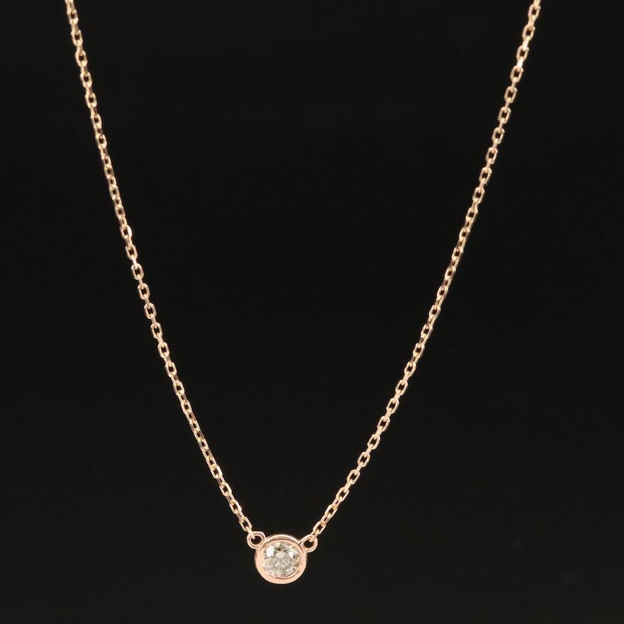 18K 0.18 CT Diamond Solitaire Necklace