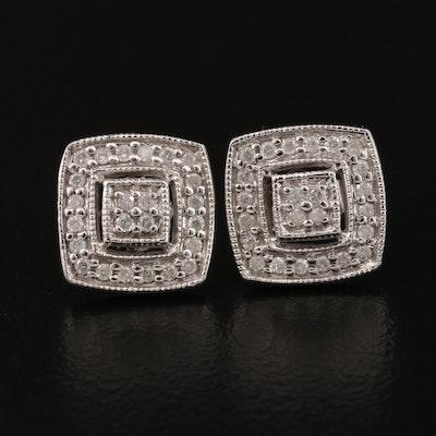 10K Diamond Geometric Earrings
