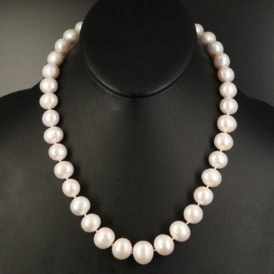 Graduated 11.50 MM - 14.50 MM Pearl Necklace with 14K Clasp