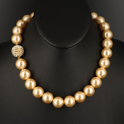 Faux Pearl Necklace with Rhinestone Accented Sterling Clasp