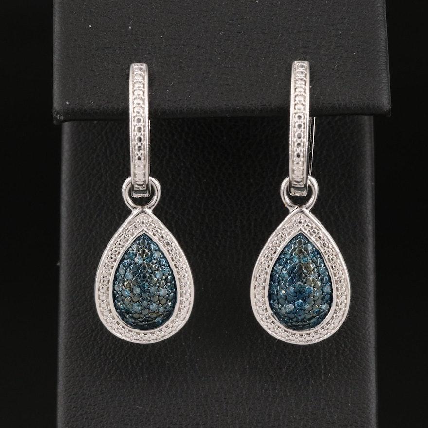 Sterling Silver Blue Diamond Teardrop Earrings