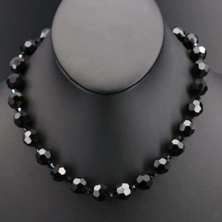 Beaded Glass Necklace with Sterling Clasp