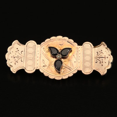 Victorian French Jet and Pearl Engraved Brooch