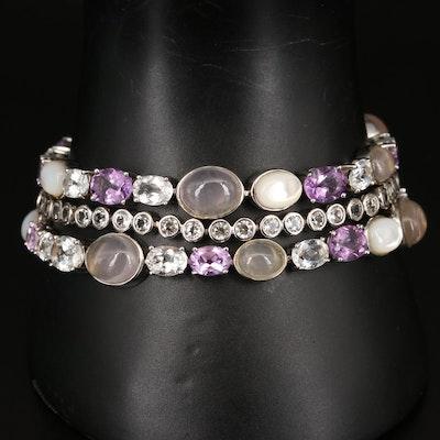Sterling Rose Quartz, Mother of Pearl, Topaz and Amethyst Bracelet