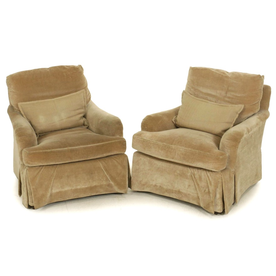 Pair of Baker Velour Upholstered Armchairs, Late 20th Century