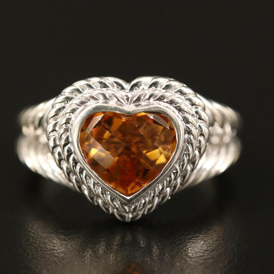 Judith Ripka Sterling Silver Citrine Heart Ring