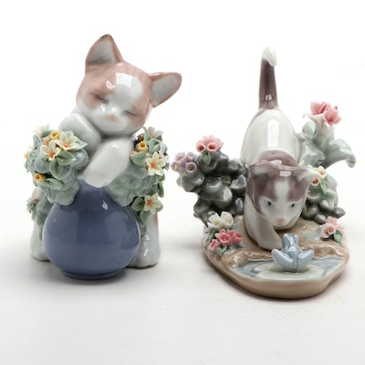 """Lladró """"Kitty Confrontation"""" and """"Dreamy Kitten"""" Porcelain Figurines"""
