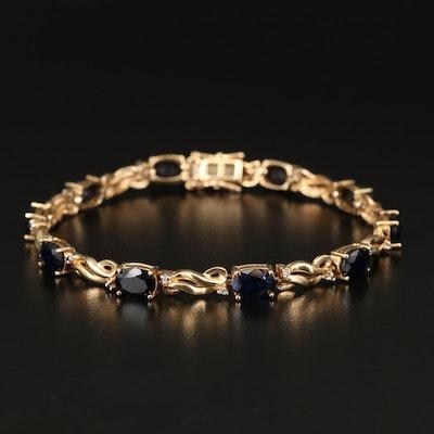14K Sapphire and Diamond Bracelet