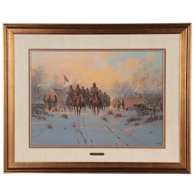 """G. Harvey Offset Lithograph """"Jackson's Winter Campaign,"""" Late 20th Century"""