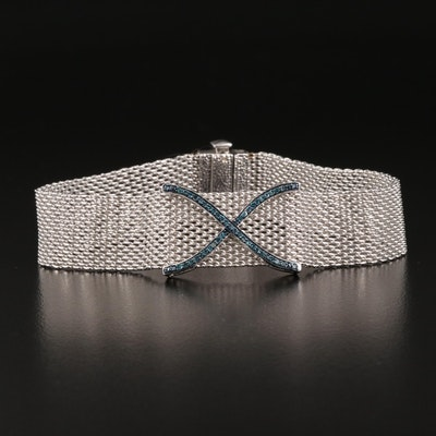 "Sterling Silver Blue Diamond ""X"" Mesh Bracelet"